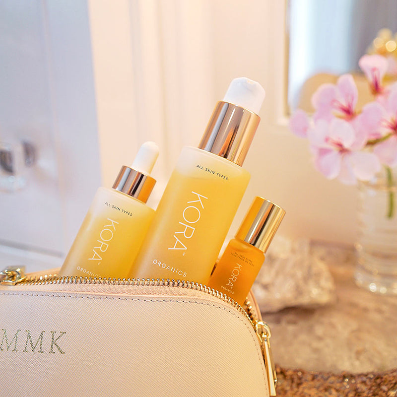 """These are my top go-to products to keep me glowing. I nourish my skin with the Eye, Face and Body oils every day."" - Miranda Kerr Founder & CEO KORA Organics"