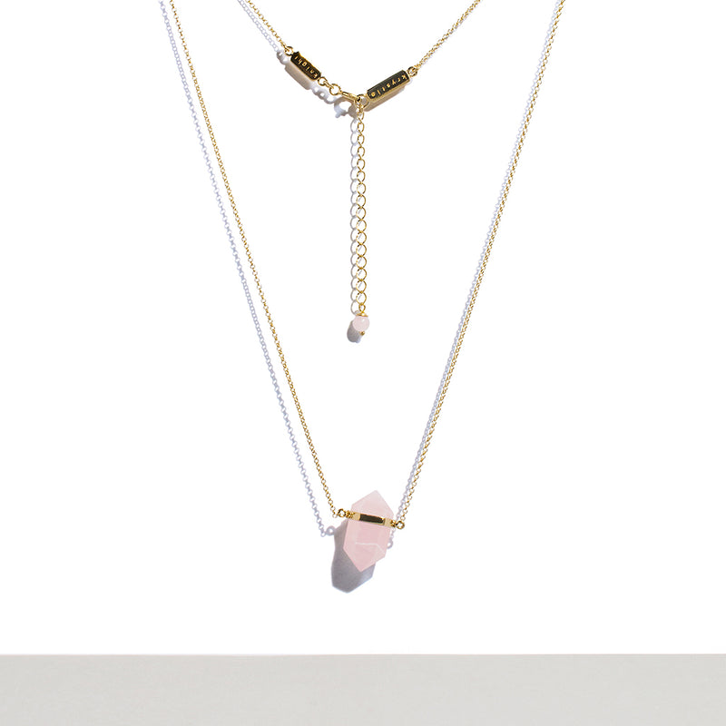 Krystle Knight Rose Quartz Crystal Necklace (12K Yellow Gold Plated 925 Sterling Silver Chain) Crystal* Measurement: 2.4cm x 0.8cm Chain Length: 25.5cm on each side of the crystal + 5cm adjustable
