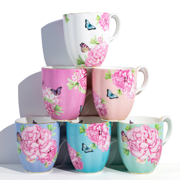 All six beautiful Royal Albert x Miranda Kerr Friendship Mugs.