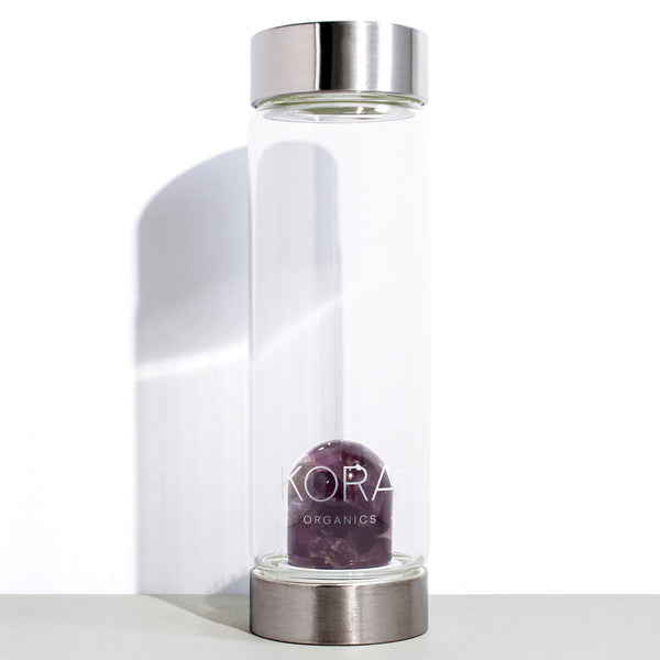 1 VitaJuwel x KORA Organics Amethyst and Glass Water Bottle | 500 mL / 16.9 fl oz