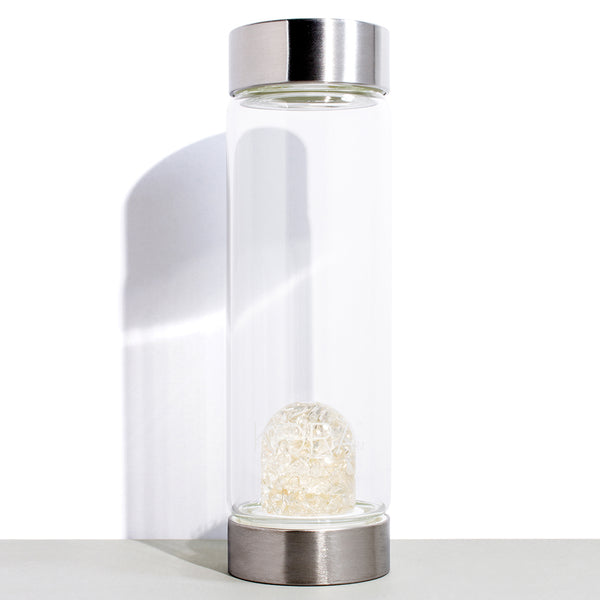 1 VitaJuwel x KORA Organics Clear Quartz and Glass Water Bottle | 500 mL / 16.9 fl oz