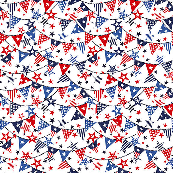 Studio E Truckin In The USA 5004-1 White with Mini Banners @ $9.00 / yard