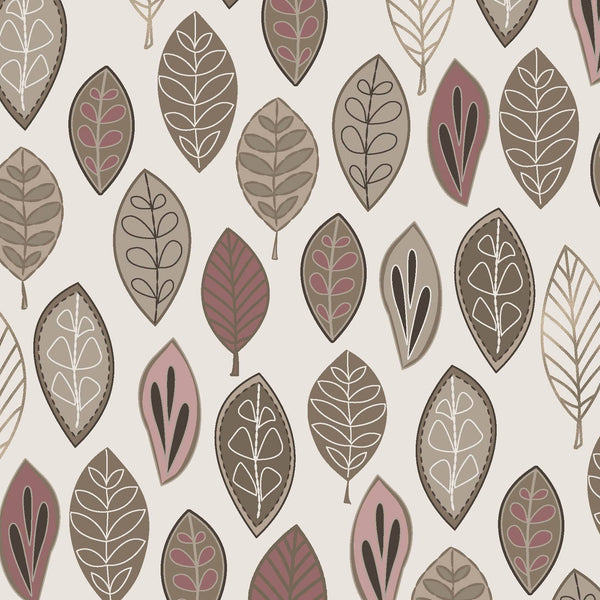 Neutral Ground Floating Leaves Fabric MAS8311-P @ $9.00 / yard