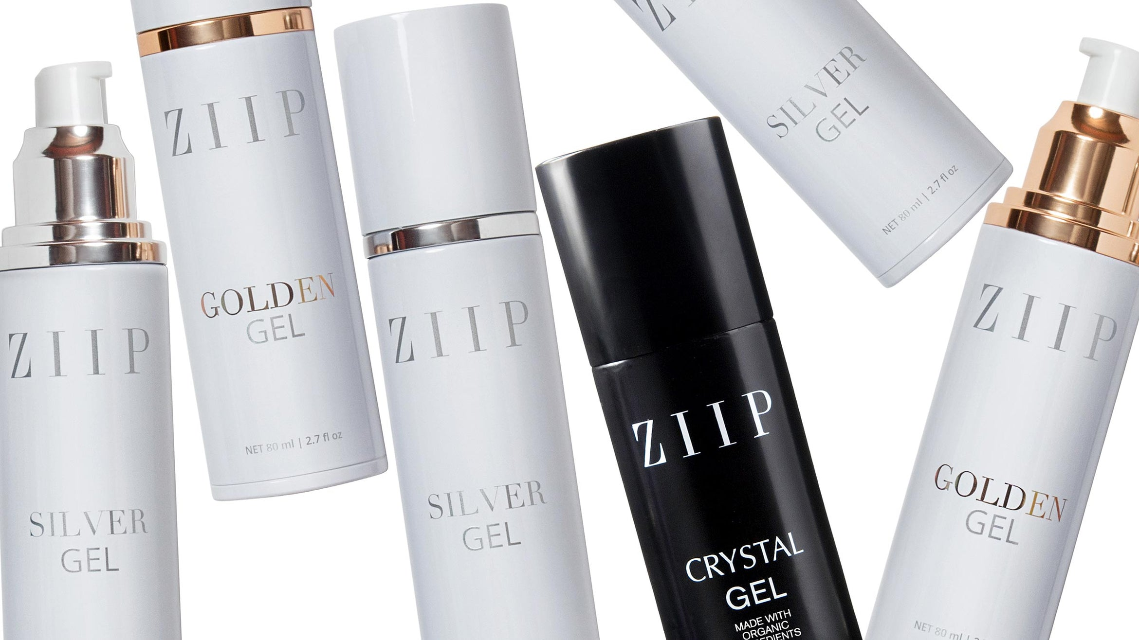 Bottles of ZIIP Golden Gel, Silver Gel, and Crystal Gel displayed