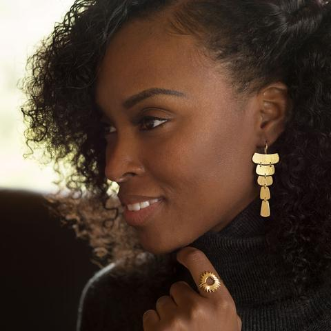 14K Gold Cascading Earrings