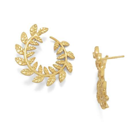 14K Gold Laurel Wreath Earrings