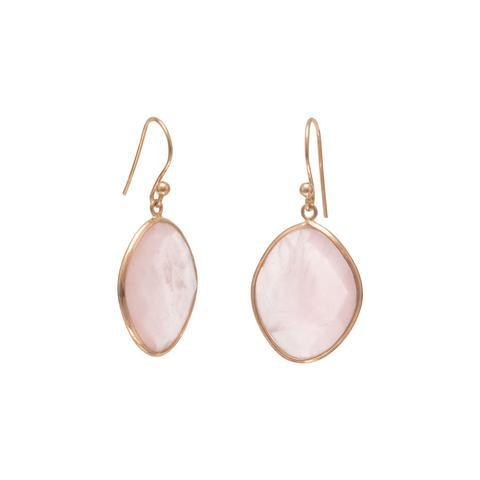 14K Gold Rose Quartz Earrings