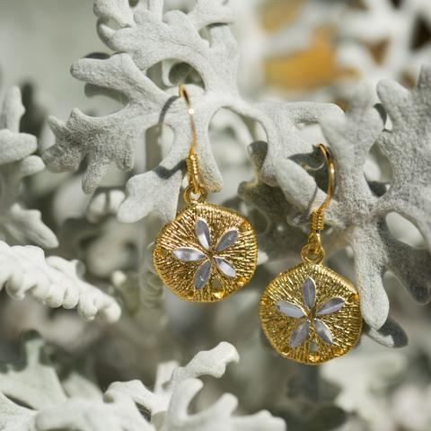 14K Gold Sand Dollar Earrings