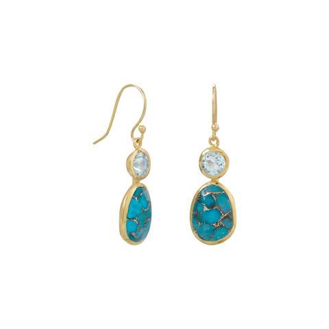 14K Gold Turquoise And Topaz Earrings