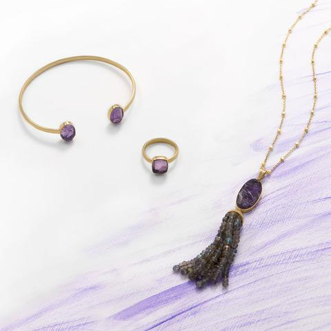 Amethyst And Labradorite Tassel Necklace