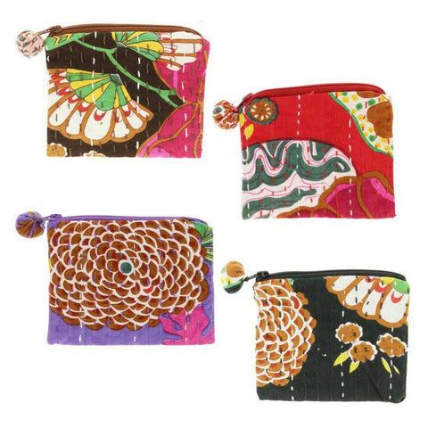 PEBBLE + ROSE collection of hand made coin purses in vibrant colored cloth