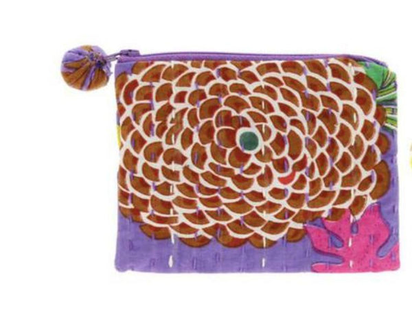 PEBBLE + ROSE artisan made cloth coin purse in dominant purple color