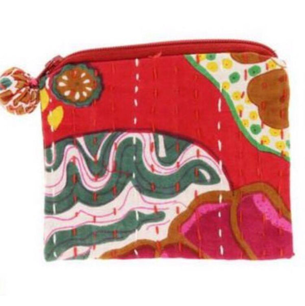 PEBBLE + ROSE artisan made cloth coin purse in dominant red color