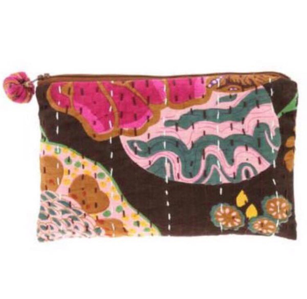 PEBBLE + ROSE artisan made cosmetics pouch in dominant black cloth
