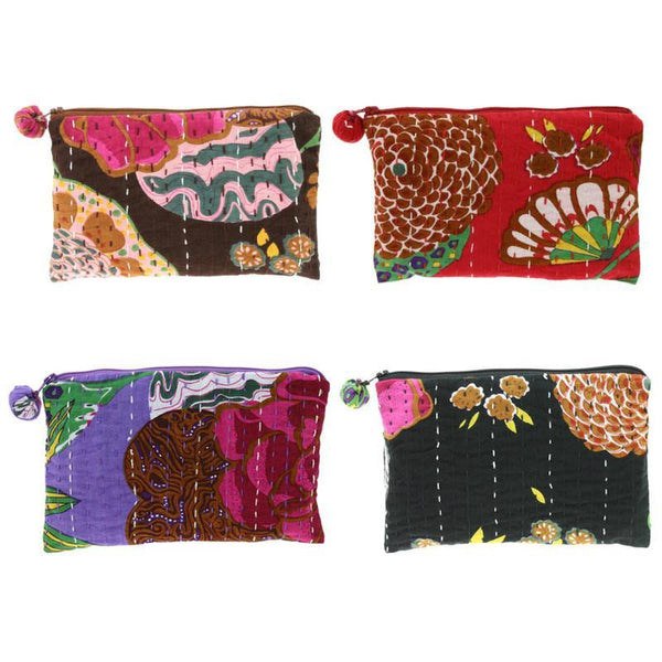 PEBBLE + ROSE artisan made vibrantly colored cloth cosmetics pouches view of four