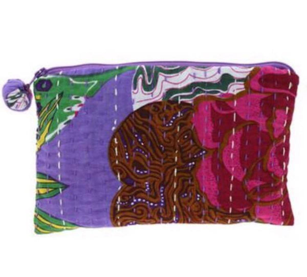 PEBBLE + ROSE artisan made cosmetics pouch in dominant purple cloth