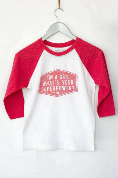 PEBBLE + ROSE Baseball Shirts - The Superpower Shirt shown on hanger on white background