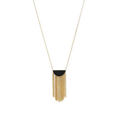 Black Onyx And 14K Gold Fringe Necklace