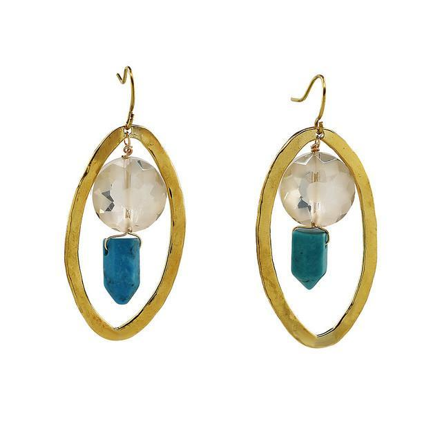 PEBBLE + ROSE's Kenyan earrings in brass, blue and clear stones.
