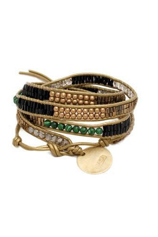 Jewelry - Malachite Multi-Wrap Artisan Bracelet with Gold Colored Disk