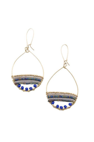 PEBBLE + ROSE Jewelry - Merina's Artisan Hoop Earrings with blue beads on white background