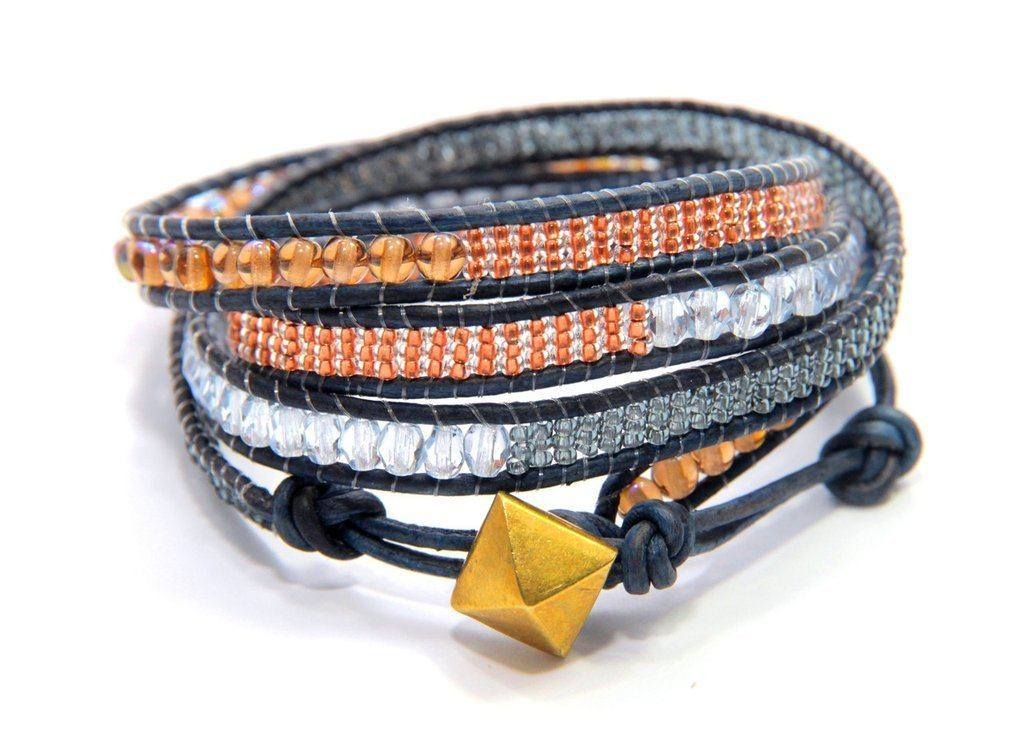PEBBLE + ROSE Artisan Jewelry - Shades Of Autumn Wrap Bracelet With Gold Colored Disk