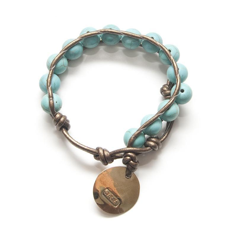 PEBBLE + ROSE Artisan Jewelry - Turquoise Tie-wrap Bracelet