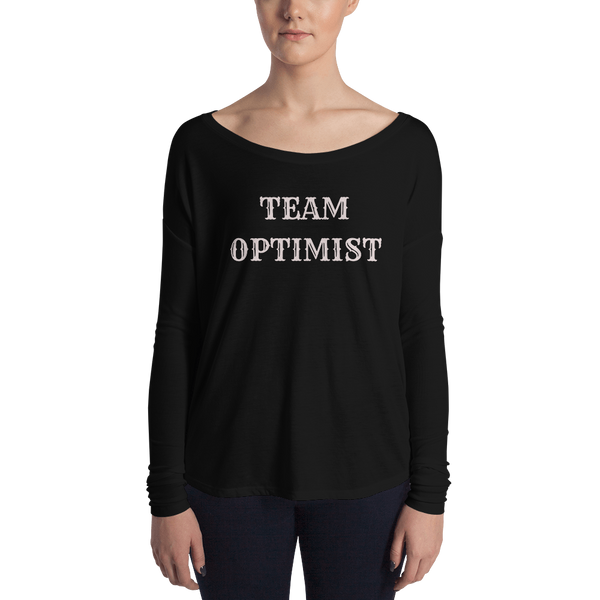 pebble and rose team optimist long sleeve tee with wide neck in black with pale pink text