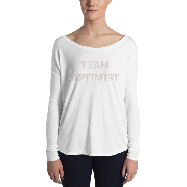 pebble and rose team optimist long sleeve tee with wide neck in white with pale pink text