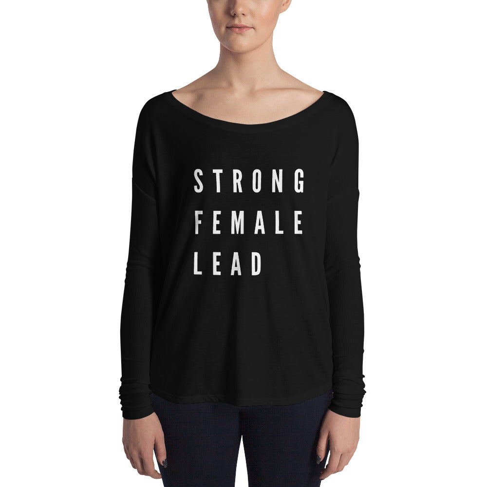 Strong Female Lead shirt long sleeves in black from Pebble and Rose