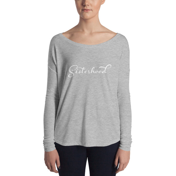 Sisterhood shirt with long sleeves and drop neck in grey from PEBBLE and ROSE