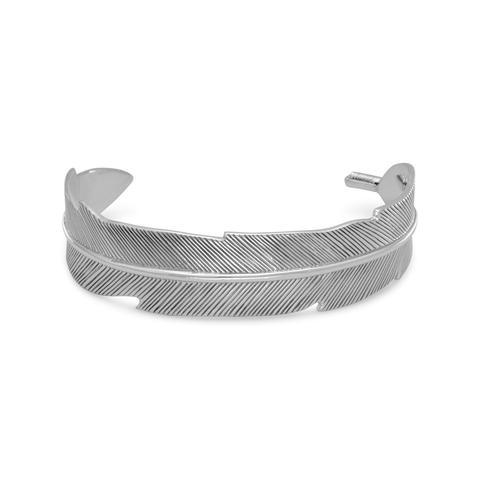 PEBBLE + ROSE Oxidized Sterling Silver Feather Bracelet Cuff - front view