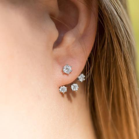 PEBBLE + ROSE Rhodium Plated CZ Front Back Earrings on model