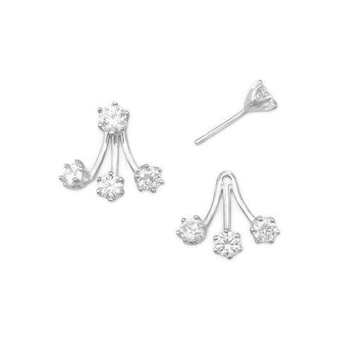 PEBBLE + ROSE Rhodium Plated CZ Front Back Earrings on white background