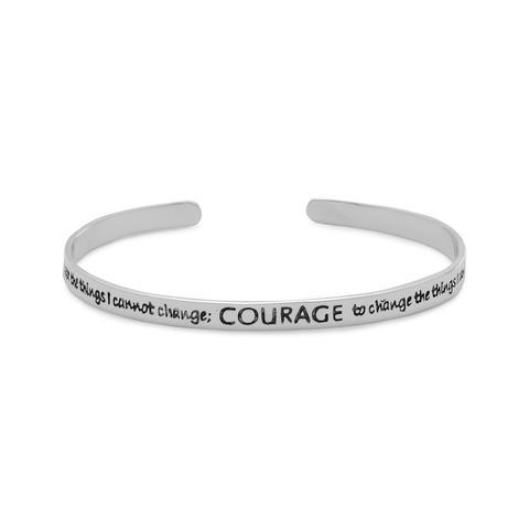 PEBBLE + ROSE Serenity Prayer Silver Cuff Bracelet on white background