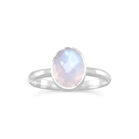 PEBBLE + ROSE Stackable Moonstone Ring shown on white background