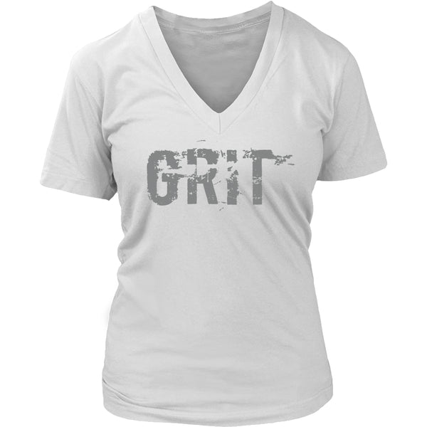 PEBBLE + ROSE Grit T Shirt in V neck style in white with distressed lettering style