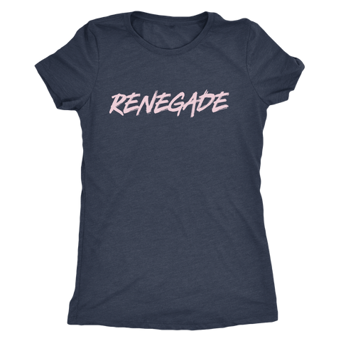 Pebble and Rose's RENEGADE Tshirt in vintage navy with pale pink text