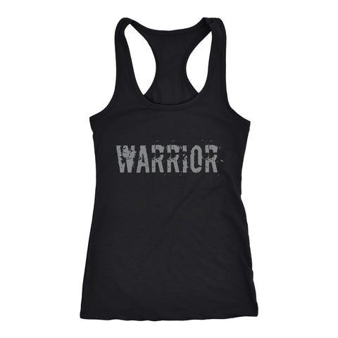 PEBBLE + ROSE Warrior T-shirt - Racerback Style Grey Print on Black