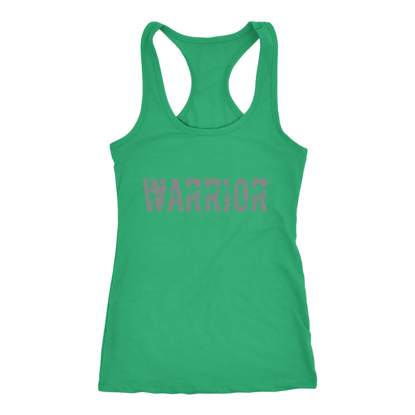 PEBBLE + ROSE Warrior T-shirt - Racerback Style Grey Print on Green