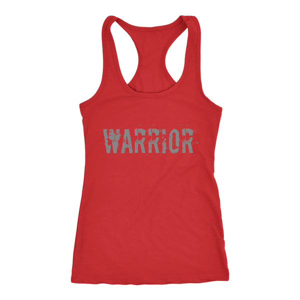 PEBBLE + ROSE Warrior T-shirt - Racerback Style Grey Print on Red