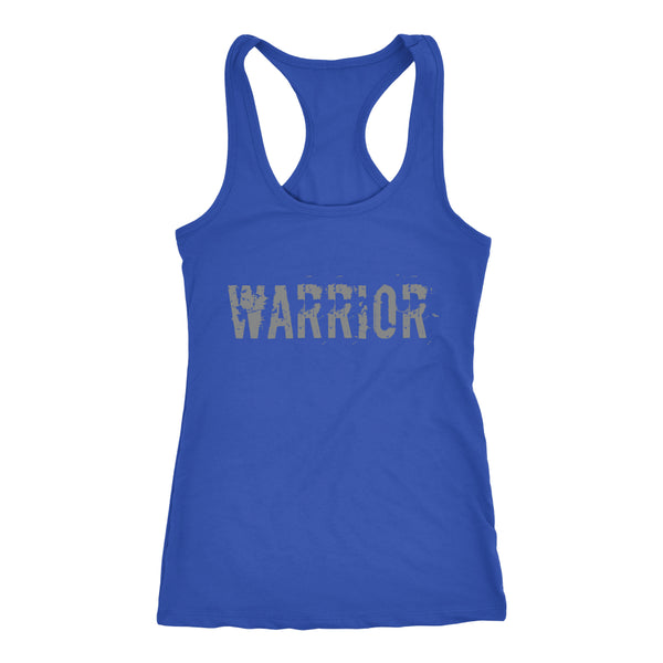 PEBBLE + ROSE Warrior T-shirt - Racerback Style Grey Print on Blue