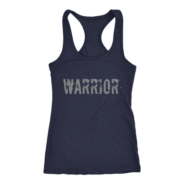 PEBBLE + ROSE Warrior T-shirt - Racerback Style Grey Print on Navy