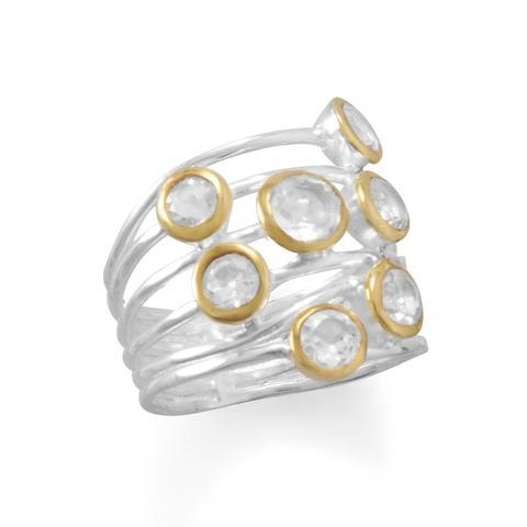 PEBBLE + ROSE The Icicle Ring side view in sterling silver, 14k gold plating and quartz stones
