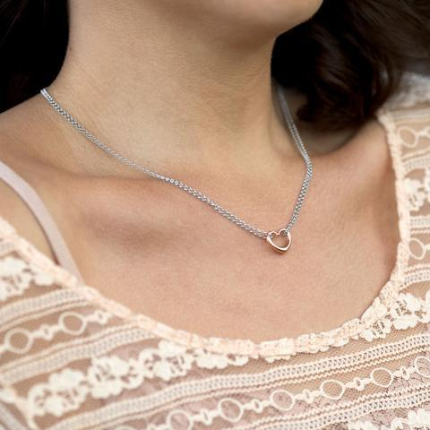 PEBBLE + ROSE Two Tone Double Strand Heart Necklace shown on model