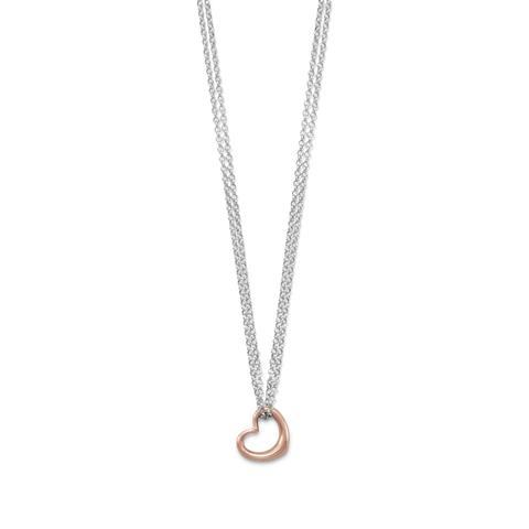PEBBLE + ROSE Two Tone Double Strand Heart Necklace shown on white background
