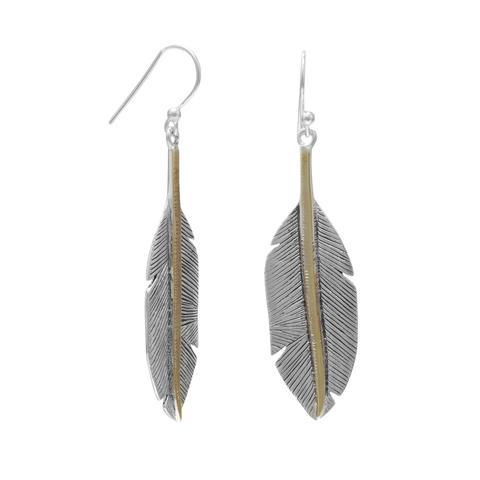 PEBBLE + ROSE Two Tone Feather Earrings