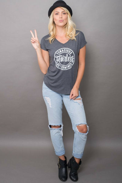 The PEBBLE + ROSE Fearless Tshirt in grey on model full length view