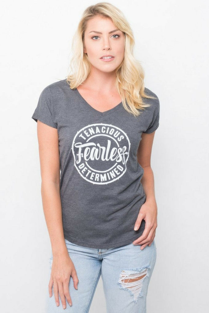 Pebble and Rose's Fearless T Shirt in grey with white design on model catalog view