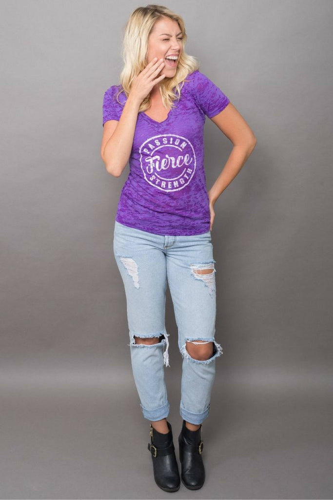 PEBBLE + ROSE Fierce T Shirt in deep purple burnout fabric shown on model with hand to face